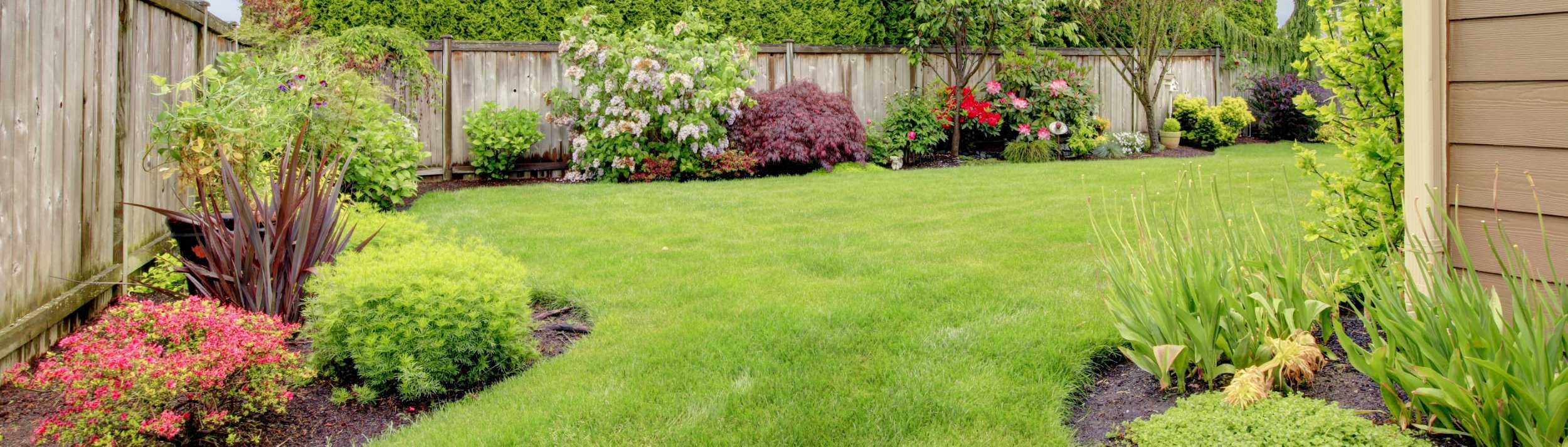 Ein Garten mit Rasenfläche und am Rand angelegten Blumenbeeten